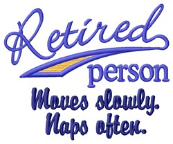 Retired Person embroidery design