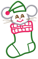 Mouse in Stocking 2 embroidery design