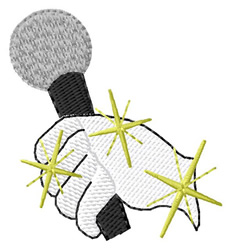 Microphone and Glove embroidery design