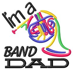 French Horn Dad embroidery design