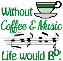 Coffee & Music embroidery design