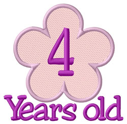 Four Years Old embroidery design