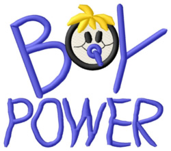 Boy Power embroidery design