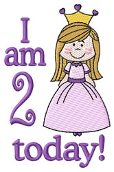 I Am Two Today embroidery design
