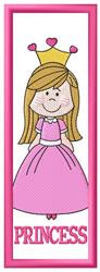 Princess Bookmark embroidery design