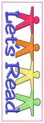Lets Read Bookmark embroidery design