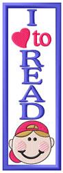 Boy Read Bookmark embroidery design
