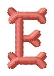 Bone Letter E embroidery design