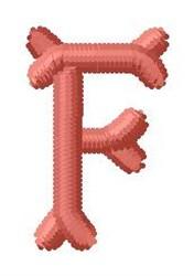 Bone Letter F embroidery design
