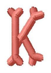 Bone Letter K embroidery design
