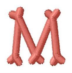 Bone Letter M embroidery design