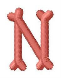 Bone Letter N embroidery design