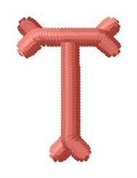 Bone Letter T embroidery design