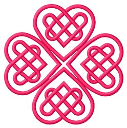 Four Hearts Outline embroidery design