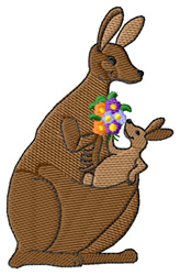 Mom Kangaroo embroidery design