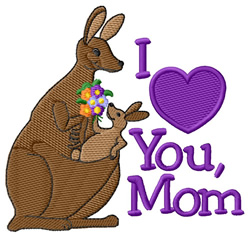 I Love You Mom embroidery design