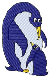 Mom & Baby Penguin embroidery design