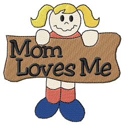 Mom Loves Me embroidery design