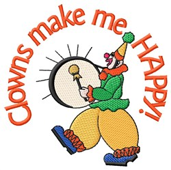 Clowns Make Me Happy embroidery design