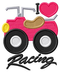 I Love Racing embroidery design