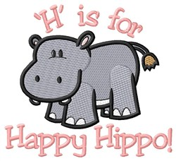 H is for Hippo embroidery design