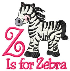 Z is for Zebra embroidery design