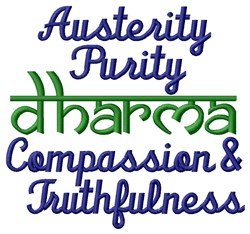 Austerity Purity Compassion Truthfulness embroidery design