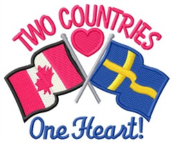 One Heart Flags embroidery design