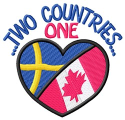 Two Countries Heart embroidery design