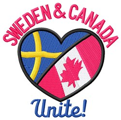 Sweden & Canada Unite embroidery design