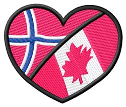 2 Flags Heart embroidery design