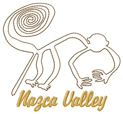 Nazca Lines Valley Monkey embroidery design