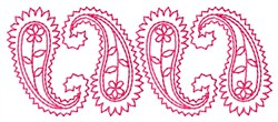 Redwork Paisly Row embroidery design