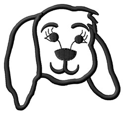 Dog Face Outline embroidery design