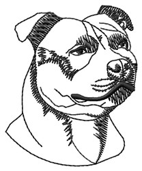 Staffy Head Outline embroidery design