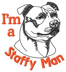 Staffy Man embroidery design