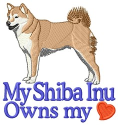Shiba Owns Heart embroidery design