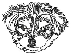 Morkie Face Outline embroidery design