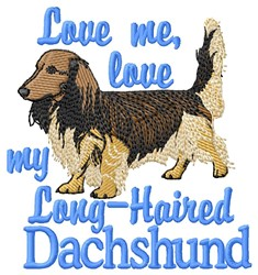 Love Dachshund embroidery design