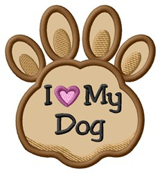 Love My Dog Paw Applique embroidery design