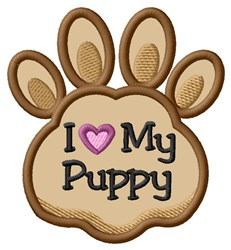 Love My Puppy Paw Applique embroidery design