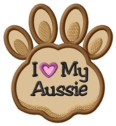 Love My Aussie Paw Applique embroidery design