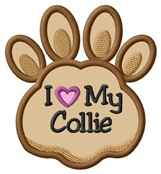Love My Collie Paw Applique embroidery design