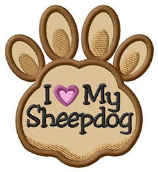 Love My Sheepdog Paw Applique embroidery design