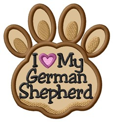 Love My German Shepherd Paw Applique embroidery design