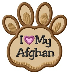 Love My Afghan Paw Applique embroidery design