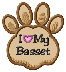 Love My Basset Paw Applique embroidery design