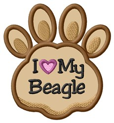 Love My Beagle Paw Applique embroidery design