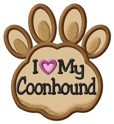 Love My Coonhound Paw Applique embroidery design