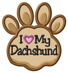Love My Dachshund Paw Applique embroidery design